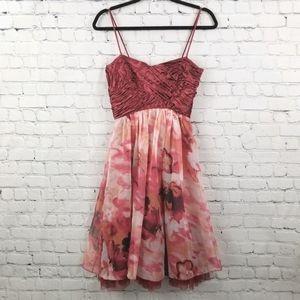 GIORGIO   side zip floral satin bust dress